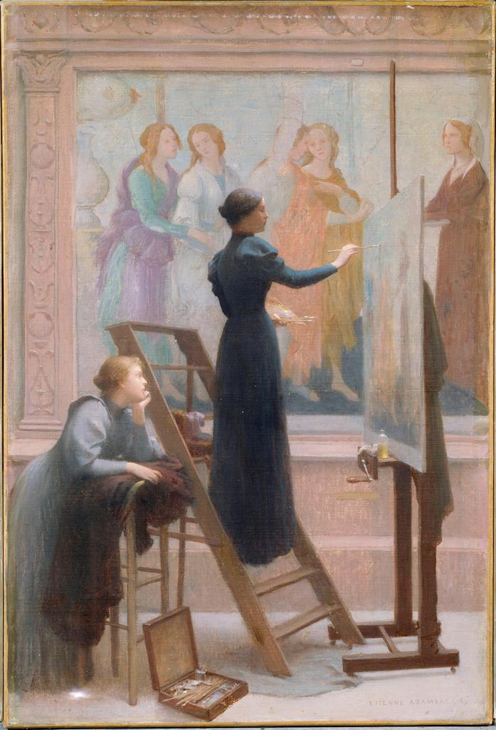 Etienne Azambre, At the Louvre, Two Women Copying Botticelli's Fresco of Venus and the Graces (1894)