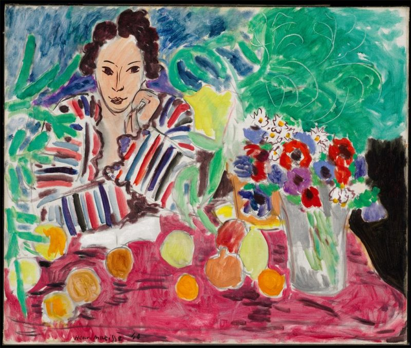 Henri Matisse, Striped Robe, Fruit, and Anemones, 1940