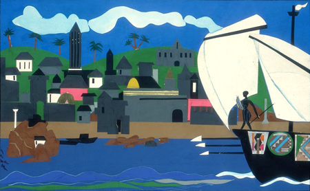 Romare Bearden | Home to Ithaca, 1977 | Art © Estate of Romare Bearden / Licensed by VAGA, New York, NY. This work of art is protected by copyright and/or related rights and may not be reproduced in any manner, except as permitted under the ARTstor Digital Library Terms and Conditions of Use, without the prior express written authorization of VAGA, 350 Fifth Avenue, Suite 2820, New York, NY 10118. Tel.: 212-736-6666; Fax: 212-736-6767; Email: info@vagarights.com.