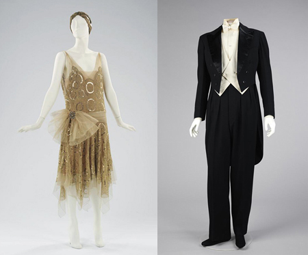 Left: Jeanne Lanvin | Ensemble, Evening; Summer 1923. Right: Jeanne Lanvin | Suit, Evening (Tuxedo); 1927. Brooklyn Museum Costume Collection at the Metropolitan Museum of Art | Image © The Metropolitan Museum of Art