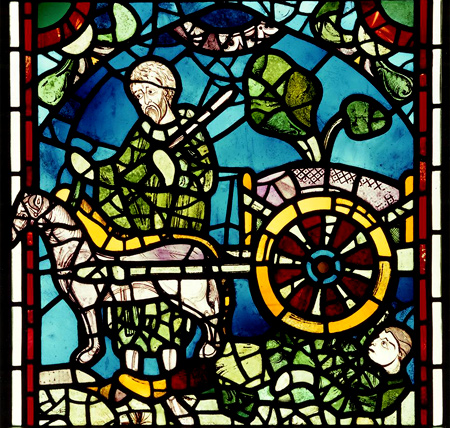 York Minster, Nave, north aisle, north window: scene from the legend of St. Nicholas | c. 1170-1190 | York, England | Image provided by the English Heritage Archive | Original data provided by Corpus Vitrearum Medii Aevi, Great Britain