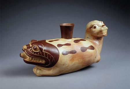 Mochica | Vessel with sea lion and feline(?) |  A.D. 500-750 | Image © Princeton University Art Museum