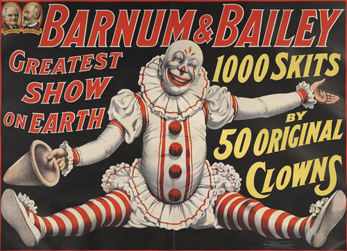 Strobridge Lithograph | Barnum & Bailey: 1000 Skits By 50 Original Clowns | 1916 | The John and Mable Ringling Museum of Art, the State Art Museum of Florida, a division of Florida State University