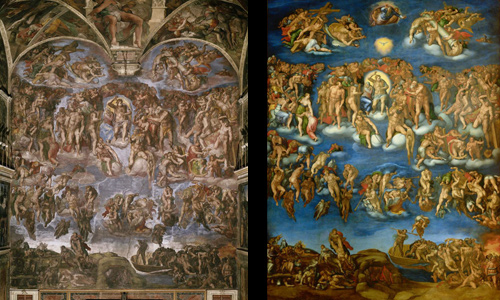 Left: Michelangelo Buonarroti | Last Judgment | 1534-41 | Sistine Chapel, Vatican. Right: Marcello Venusti | Last Judgment | Museo e gallerie nazionali di Capodimonte | Images and original data provided by SCALA, Florence/ART RESOURCE, N.Y.; artres.com | (c) 2006, SCALA, Florence/ART RESOURCE, N.Y.