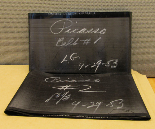Caption: Liberman's Memobelt, a recording of his thoughts on Picasso for his essay in Vogue (November 1, 1956). The Getty Research Institute, 2003.M.30
