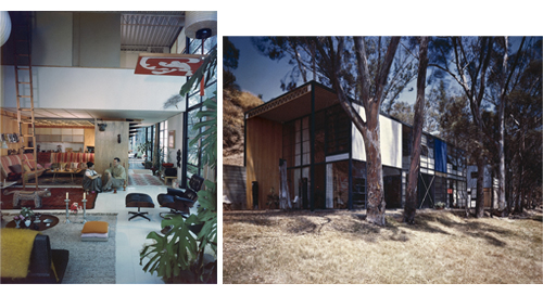 Case Study House #8: Charles and Ray Eames in their living room (left) and exterior (right), Pacific Palisades, 1968. © J. Paul Getty Trust. Used with permission. Julius Shulman Photography Archive, Research Library at the Getty Research Institute (2004.R.10)