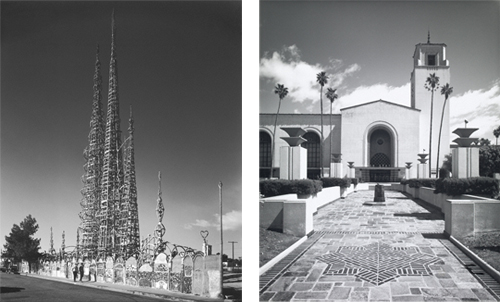 Simon Rodia's Watts Towers, Los Angeles, 1967 (left) and Union Station, Los Angeles, 1973 (right). © J. Paul Getty Trust. Used with permission. Julius Shulman Photography Archive, Research Library at the Getty Research Institute (2004.R.10)