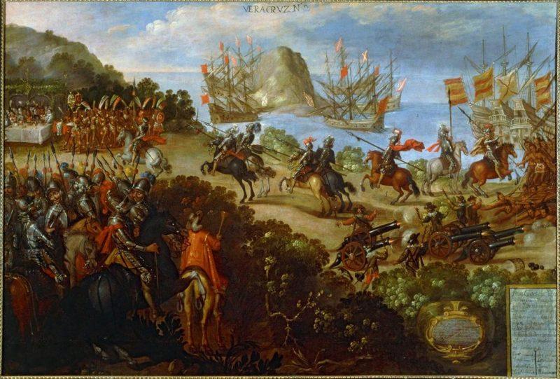 Unknown Spanish artist, Conquest of Mexico; The arrival of Cortes in Veracruz and the reception of Moctezuma's ambassadors, 16th century. Image and original data provided by Erich Lessing Culture and Fine Arts Archives/ART RESOURCE, N.Y.; artres.com