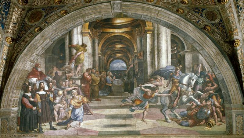 Raphael, Stanza di Eliodoro (Expulsion of Heliodorus), 1511-12, Vatican. Image and original data provided by SCALA, Florence/ART RESOURCE, N.Y.; www.artres.com; scalarchives.com; (c) 2006, SCALA, Florence/ART RESOURCE, N.Y.