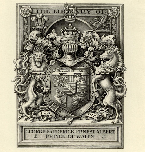 William P. Barrett, The Library of George Frederick Ernest Albert Prince of Wales, 1904. UD Library: William Augustus Brewer Bookplate Collection
