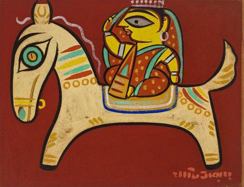 Jamini Roy, Queen on Horseback. University of Florida: Harn Museum of Art