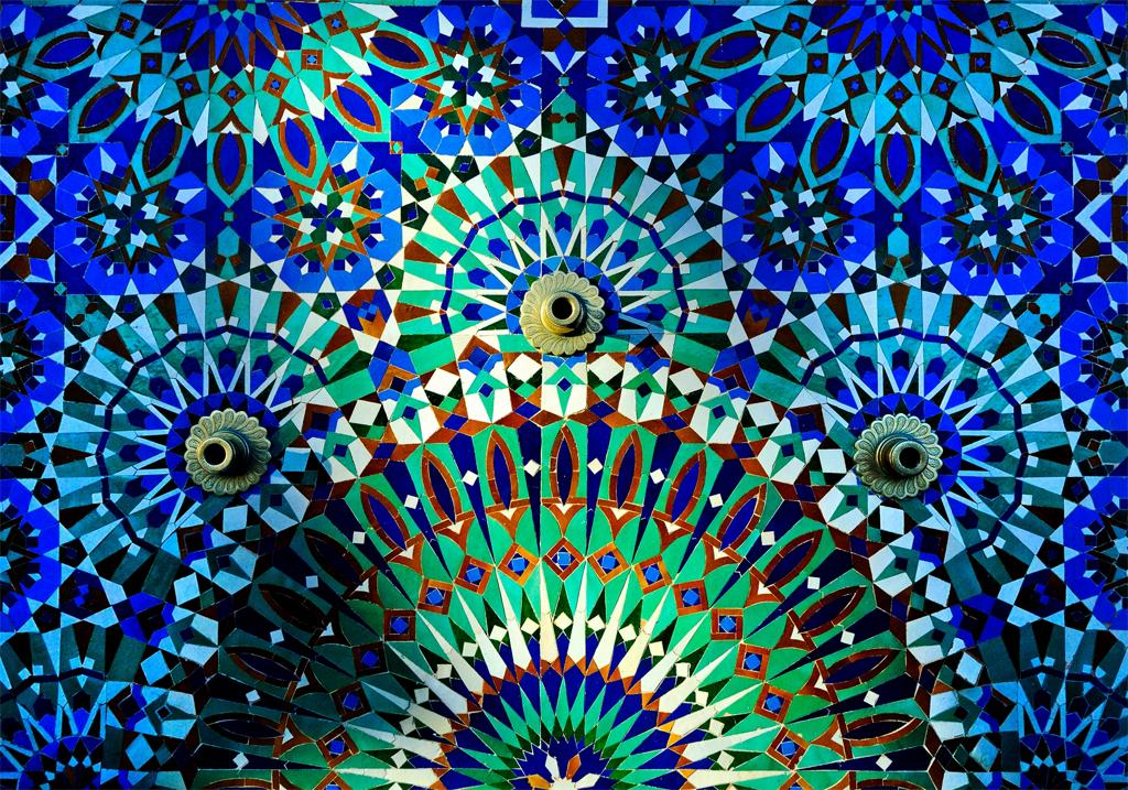 Mark Henley, A detail of a tiled decoration at The Hassan II Mosque