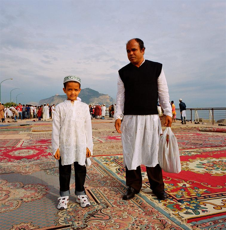 Alfredo D'Amato, Father and son during prayers by the coast to celebrate Eid ul-Fitr