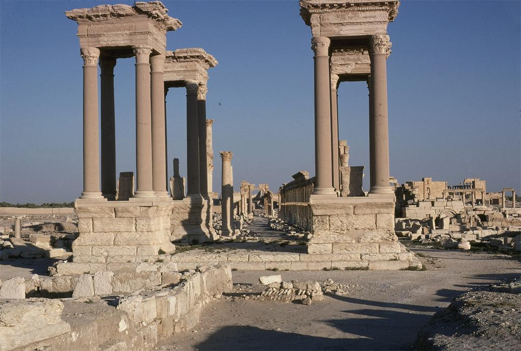 Palmyra; Tetrapylon exterior, procession relief. Date of photograph: 1977. Image and original data provided by Sheila S. Blair and Jonathan M. Bloom.