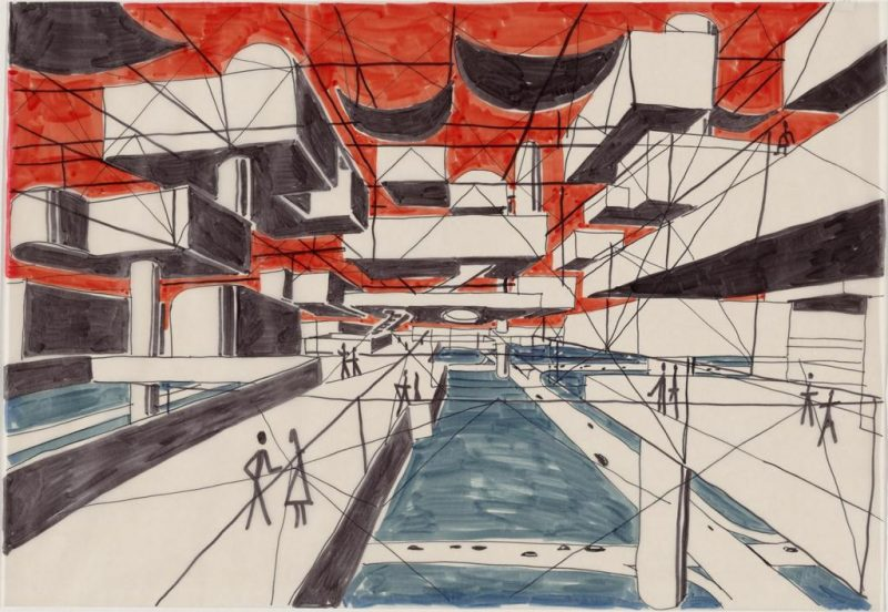 Yona Friedman, Spatial City, project Perspective, 1958-59