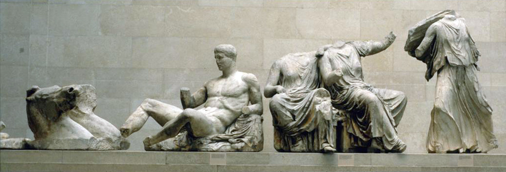 Greek, Parthenon: E. pediment: Helios Chariot, Dionysos (or Herakles?); Demeter, Kore, and Artemis (or Hestia, Dione, and Aphrodite?), ca. 438-432 B.C.E. Catalogued by: Art Images for College Teaching