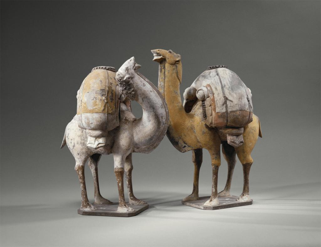 Two Standing, Braying Camels, ca. 550-577
