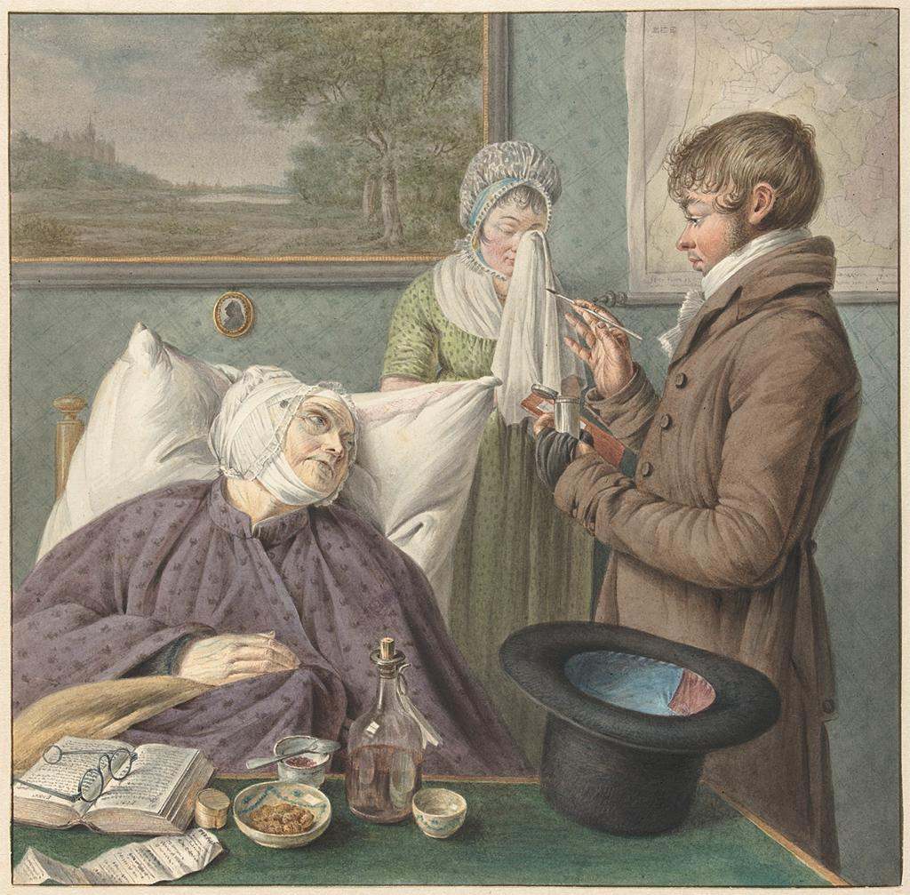 Doctor visits a sick elderly woman in bed. Attributed to Wybrand Hendriks, Warner Horstink, Hendrik Schwegman, 1754 - 1831 and/or 1766 - 1815 and/or 1771 – 1816. Image and original data provided by Rijksmuseum: https://www.rijksmuseum.nl/
