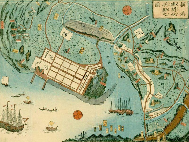 Takashima Kazuyuki; Detailed map of the developed port of Yokohama; 1859. Image and original data courtesy of University of British Columbia Library, Rare Books and Special Collections