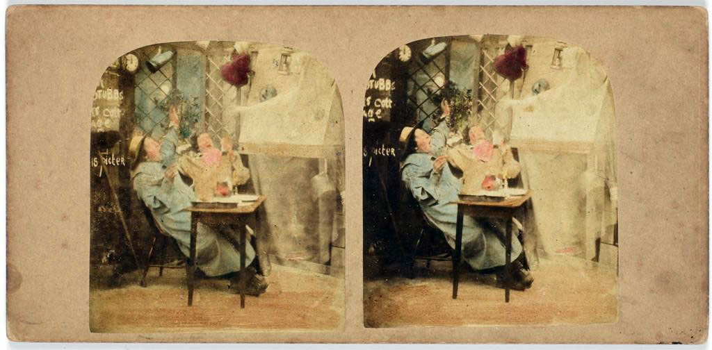 Hablot Knight Browne, The London Stereoscopic Company; The Ghost in the stereoscope; 1856 - 1859. Image and original data provided by Rijksmuseum: https://www.rijksmuseum.nl