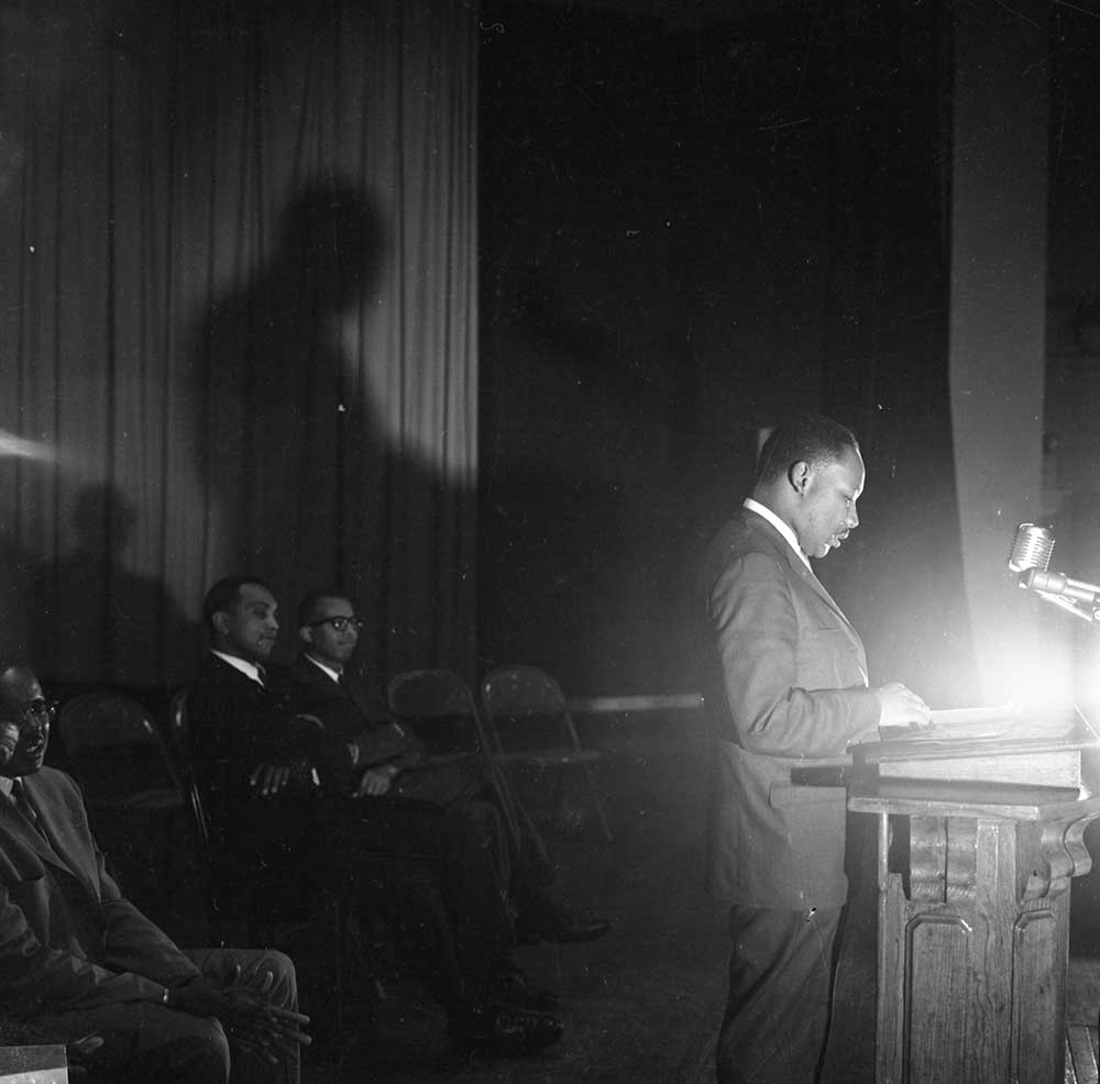 Dr. Martin Luther King, Jr. speaks at the TCA meeting, 1957. Courtesy of the Tuskegee University Archives, P.H. Polk Collection, 2017.