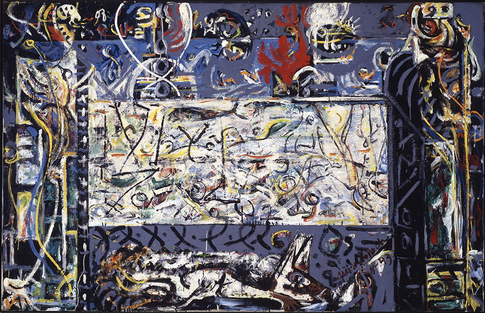 Jackson Pollock, Guardians of the Secret, 1943. Image and data from SFMOMA. © 2009 Pollock-Krasner Foundation / Artists Rights Society (ARS), New York