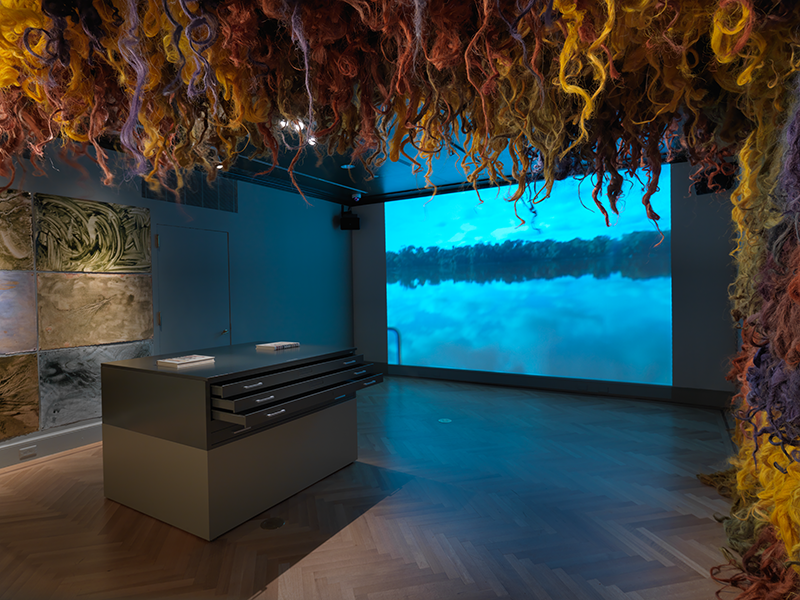 Waterweavers: The River in Contemporary Colombian Visual and Material Culture, Installation view; 2014. Image and original data contributed by Bard Graduate Center Gallery