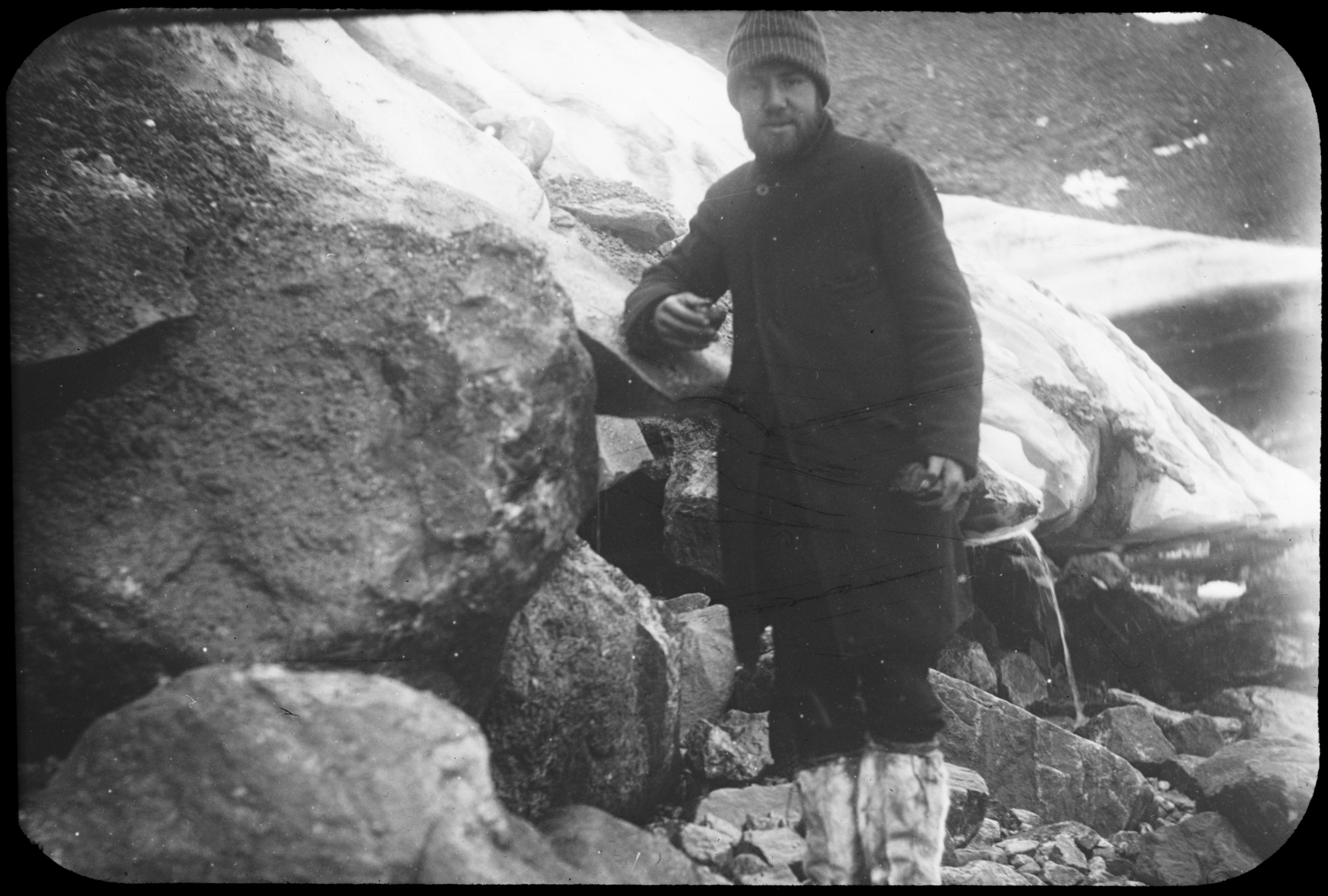 Boulder carried by Nugsuak Glacier. 1896. Greenland. Image provided by Cornell University.