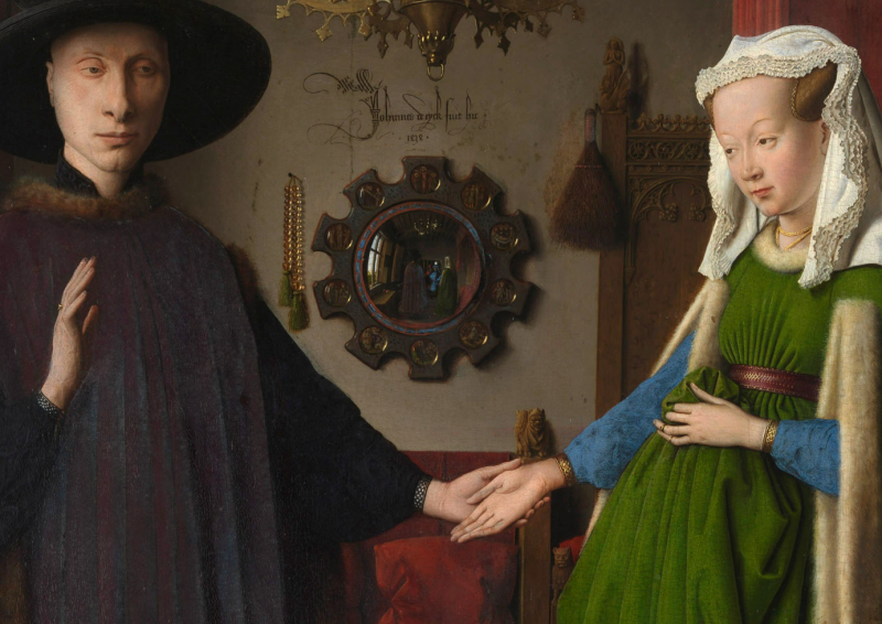 Jan van Eyck. Portrait of Giovanni(?) Arnolfini and his Wife; Detail. 1434. The National Gallery, London