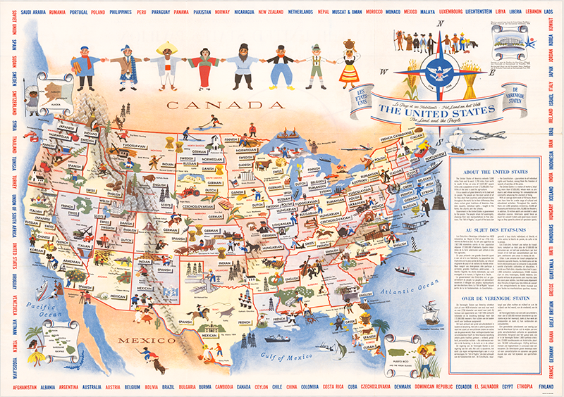 United States - The Land and The People. Mary Rouin. 1958. Persuasive Maps: PJ Mode Collection