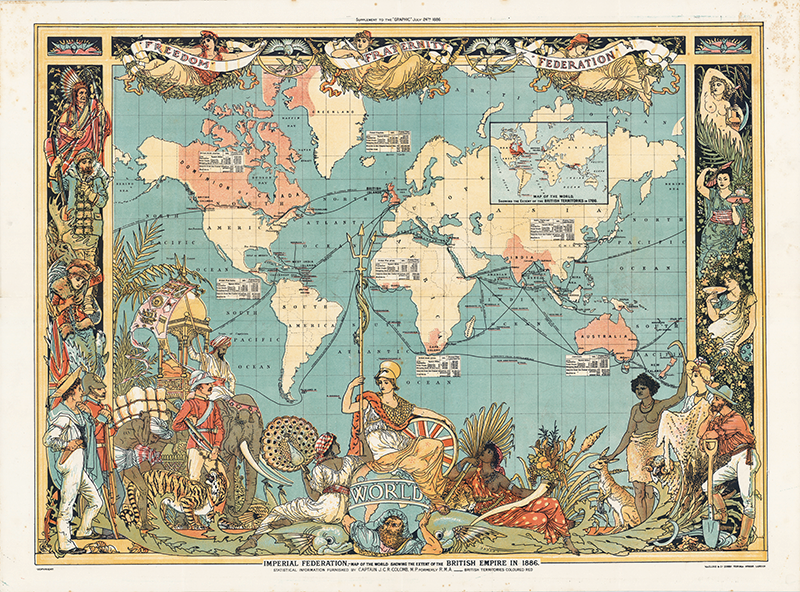 Imperial Federation Map of the World Showing the Extent of the British Empire in 1886. Walter Crane. 1886. Persuasive Maps: PJ Mode Collection