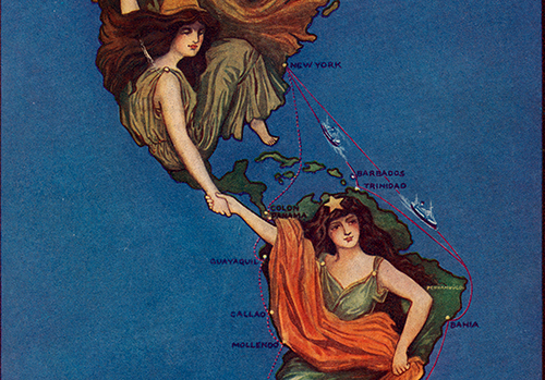 South America: the Land of Opportunity. A Continent of Scenic Wonders. A Paradise for the Tourist. General Information for Travelers, Detail. Lamport & Holt Line. 1912. Persuasive Maps: PJ Mode Collection
