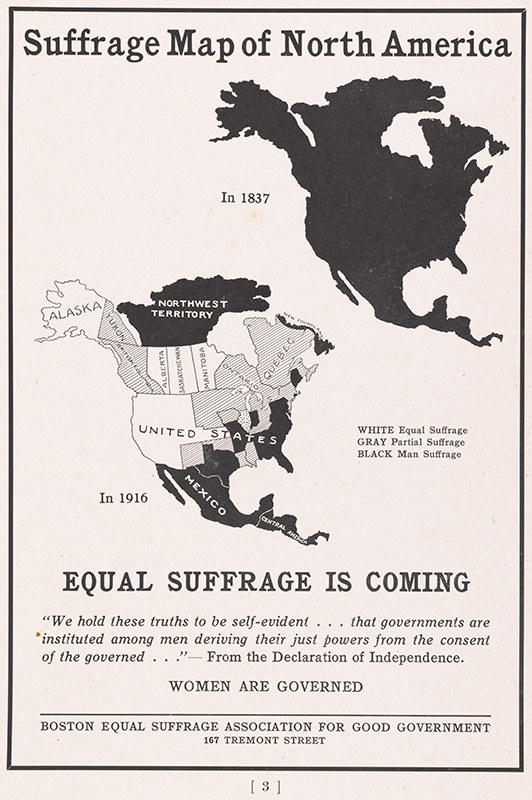 Suffrage Map of North America - Equal Suffrage is Coming. Boston Equal Suffrage Association for Good Government. 1916. Persuasive Maps: PJ Mode Collection