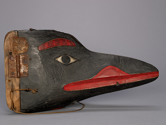 Transformation mask. Gitanyow, Kitwancool?, British Columbia. c. 1870 CE. © UBC Museum of Anthropology. Photographed by Kyla Bailey.