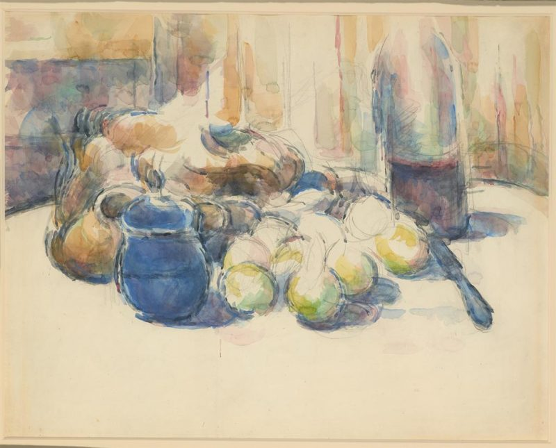 Paul Cezanne. Still Life with Pears and Apples, Covered Blue Jar, and a Bottle of Wine. 19th century. Watercolor on wove paper. Image and data provided by The Morgan Library and Museum.