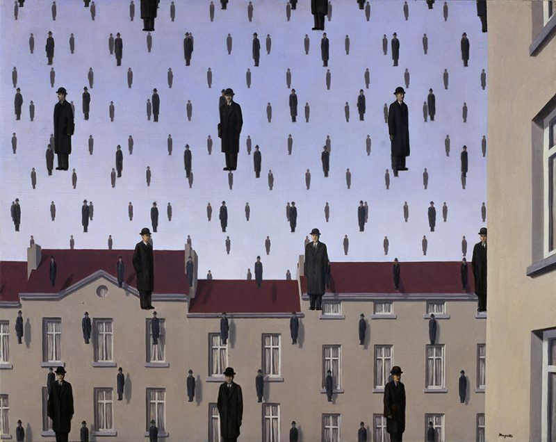 René Magritte. Golconda (Golconde). 1953. Image and original data provided by The Menil Collection. © 2014 C. Herscovici, Brussels / Artists Rights Society (ARS), New York