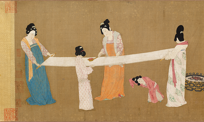 Emperor Huizong (attributed to). Court ladies preparing newly woven silk, detail. early 12th century. Museum of Fine Arts, Boston. All Rights Reserved