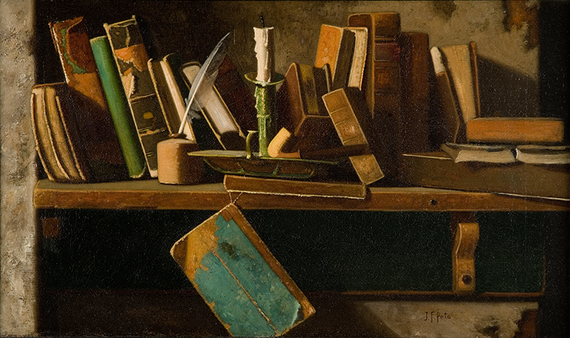 John Frederick Peto. Books on a Shelf. c. 1854-1907. Image and original data provided by the Museo de Arte de Ponce. The Luis A. Ferré Foundation, Inc.