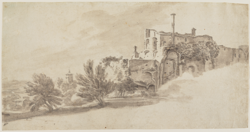 Jan Frans van Bloemen. Landscape with Classical Ruins. 1662-1749. Brush and wash over graphite on paper. Image and original data provided by Bowdoin College Museum of Art.