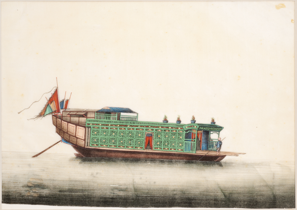Unknown, Chinese, Qing Dynasty, for export. House Boat. 19th century. Ink and color on paper. Image and original data provided by the Philadelphia Museum of Art.