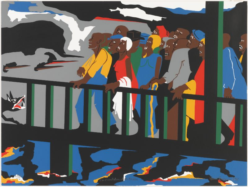 Jacob Lawrence. Confrontation at the Bridge. 1976. Screen print. Image and original data provided by Seattle Art Museum. © 2014 The Jacob and Gwendolyn Lawrence Foundation, Seattle / Artists Rights Society (ARS), New York.