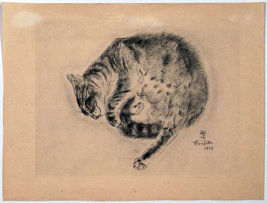 Tsugoharu Foujita. Sleeping Cat. 1929. Etching. Image and original data from the University of Wisconsin-Milwaukee Art Collection and Galleries. © 2014 Artists Rights Society (ARS), New York / ADAGP, Paris.