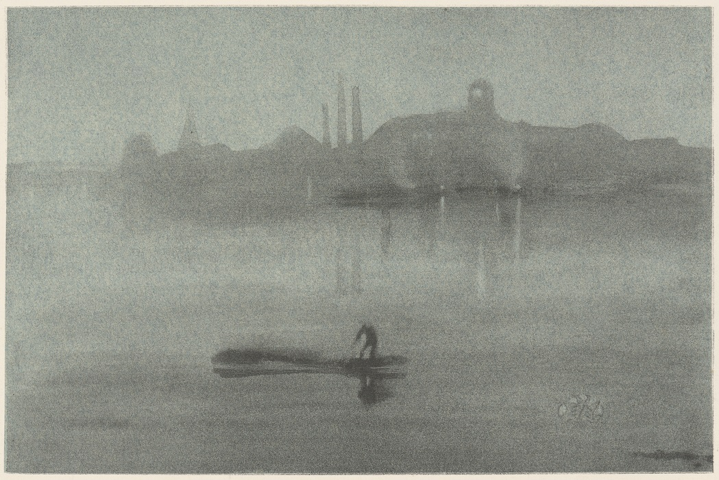 James McNeill Whistler. Nocturne. c. 1878. Wash lithograph on blue tinted chine collé. Image and original data provided by the Davison Art Center, Wesleyan University.
