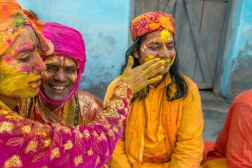 Jeremy Horner. Devotees at the Krishna Temple of Shriji, during Lathmar Holi. 2011.