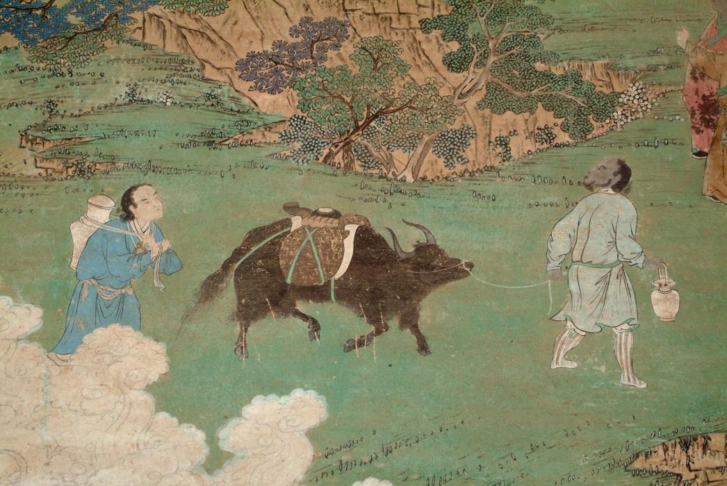 Ledu. Amdo, Qinghai Province, China. Narrative of the founding of Qutansi, detail. c. 19th century. Mural painting, Qutansi (Gro tshang lha khang) monastery. Image and data provided by Rob Linrothe.