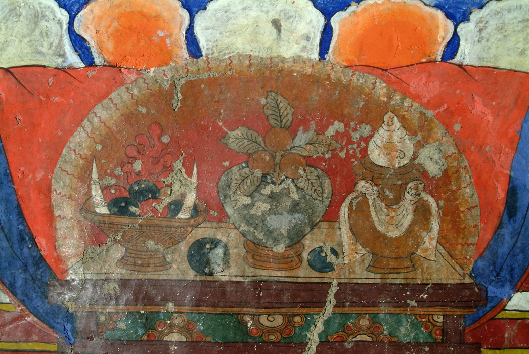 Himachal Pradesh, Lahaul-Spiti, Dankhar Gompa, India. Offering table in front of second Buddha. c. late 17th - 18th century. Detail from mural painting (east corner, south wall) in sNa ka mTshang Hall. Image and data provided by Rob Linrothe.