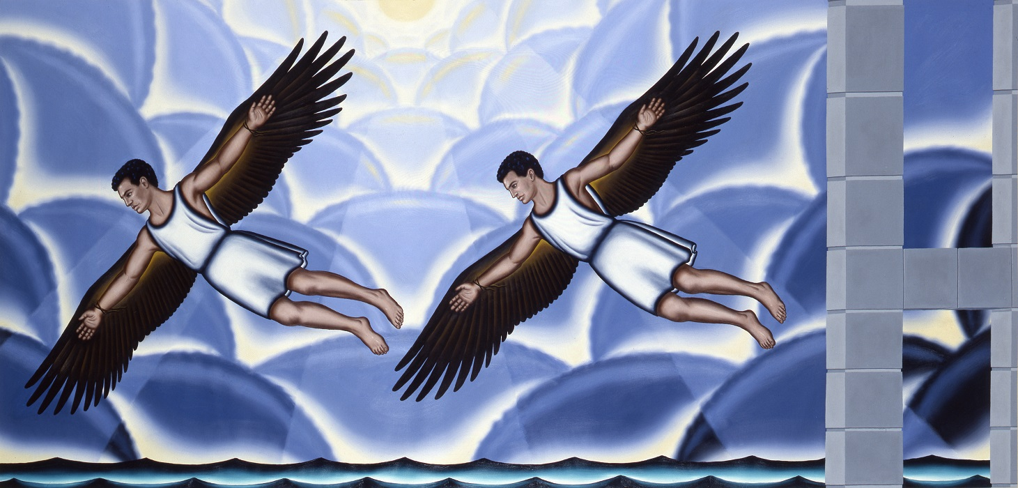 Roger Brown. Arts And Sciences Of The Ancient World – The Flight of Daedalus and Icarus. 1991. Italian glass mosaic and stone tile mural. Image and data provided by the Roger Brown Study Collection, School of the Art Institute of Chicago.