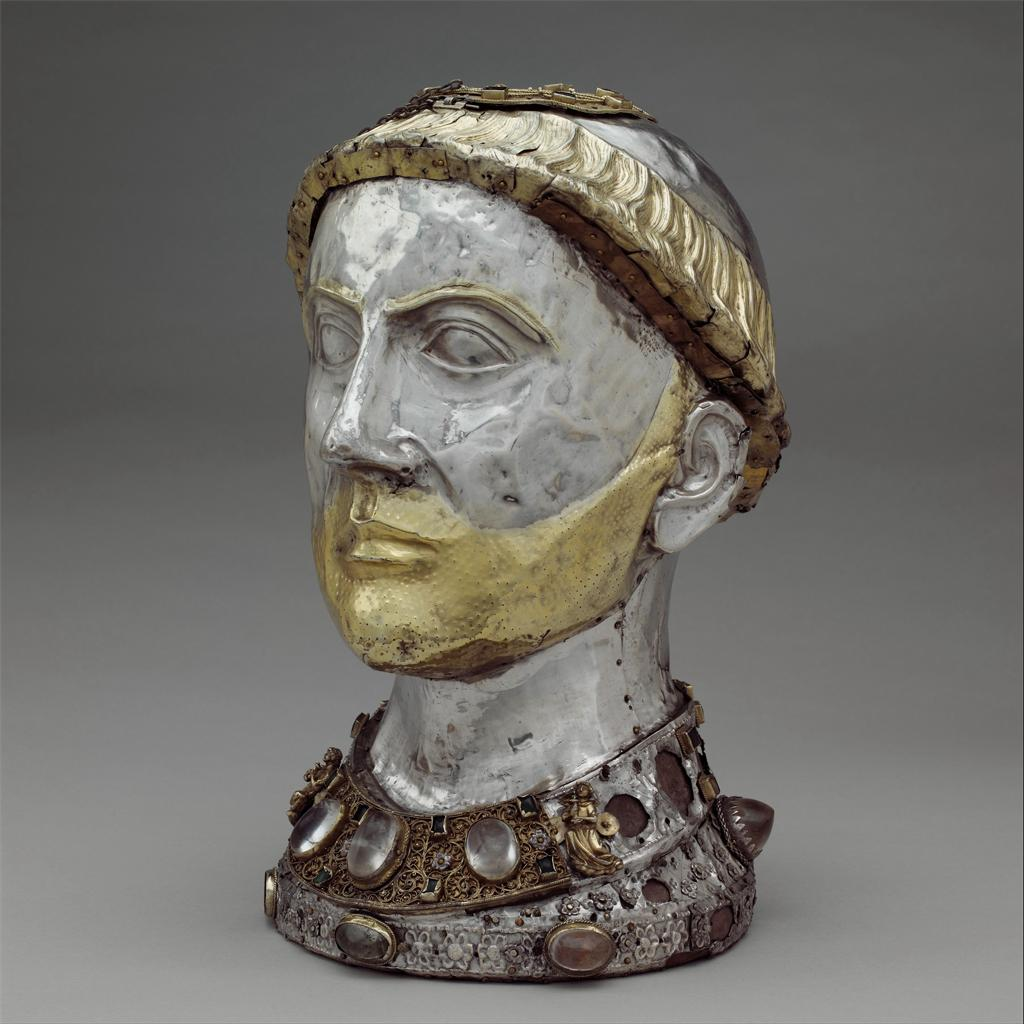 A reliquary in the shape of a bust of a man.