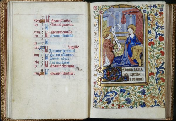 Attributed to unknown French (illuminator). c.1470 (creation date). Book of Hours (Horae Beatae Mariae Virginis), Folio 13r: Hours of the Virgin: Matins: Annunciation, overall, right, shown with folio 12v at left. Illumination, Leaf (component), Manuscript. Place: Trinity College, Watkinson Library (Hartford, Connecticut, USA).