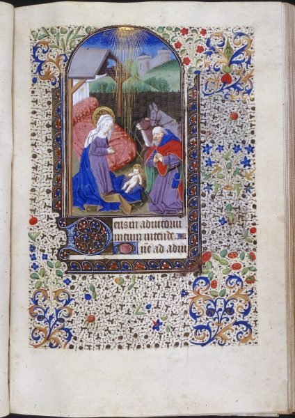 Attributed to Master of Jean Rolin II (illuminator, French, act. ca.1440-1465). c.1460 (creation date). Book of Hours (Horae Beatae Mariae Virginis), Folio 59r: Hours of the Virgin: Prime: Nativity, overall. Illumination, Leaf (component), Manuscript. Place: Trinity College, Watkinson Library (Hartford, Connecticut, USA).
